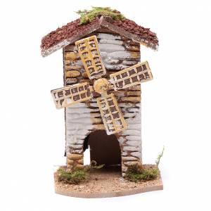 Moulins en miniature: Moulin à vent liège électrique crèche 15x9,5x8 cm