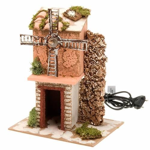 Moulin à vent pour crèche électrique bois e s3