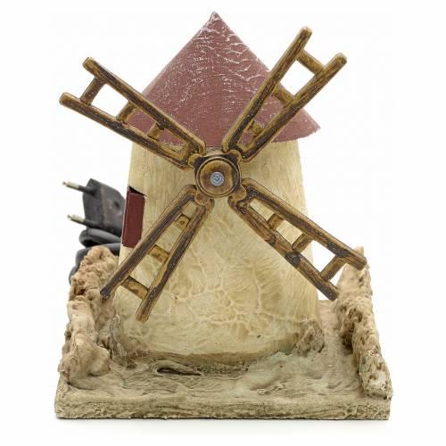 Mulino a vento in legno stuccato per presepe 15x14x14 s1