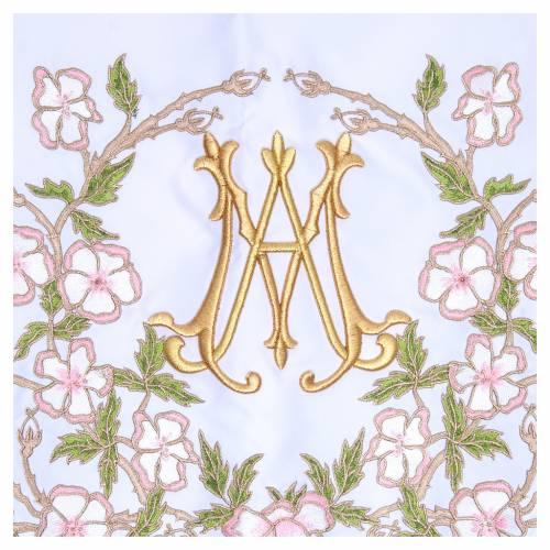 Nappe pour autel 165x300 cm fleurs roses et initiales mariales s2