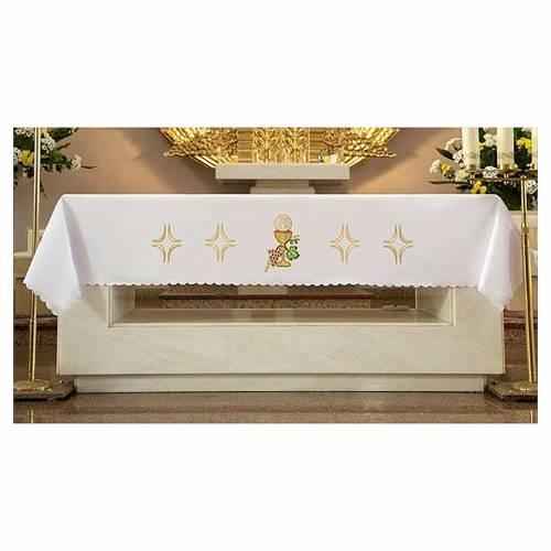 Nappe pour autel 165x300 cm raisin pain vin s1