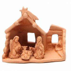 Belén terracota Deruta: Natividad con Cabaña de terracota natural h. 15x16x9 cm
