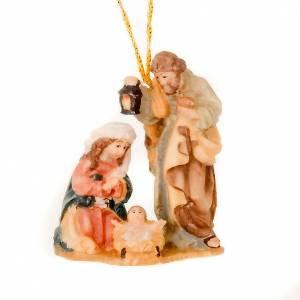 Adornos de madera y pvc para Árbol de Navidad: Natividad con hilo de madera pintada 6 cm.