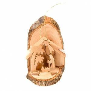 Adornos de madera y pvc para Árbol de Navidad: Natividad de olivo para colgar 10 cm.