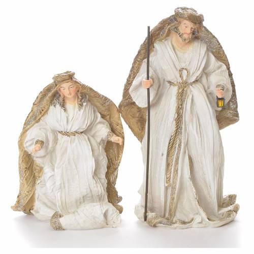 Nativité 19 cm résine blanc or s2