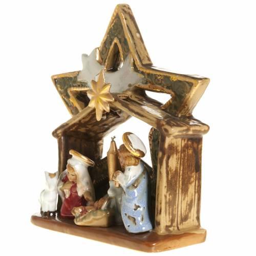 Nativité étable et étoile céramique colorée 21 cm s3