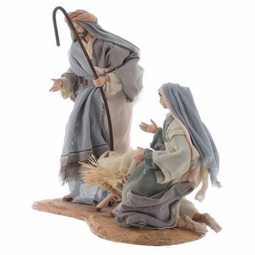 Nativité résine 33 cm sur base en bois s2