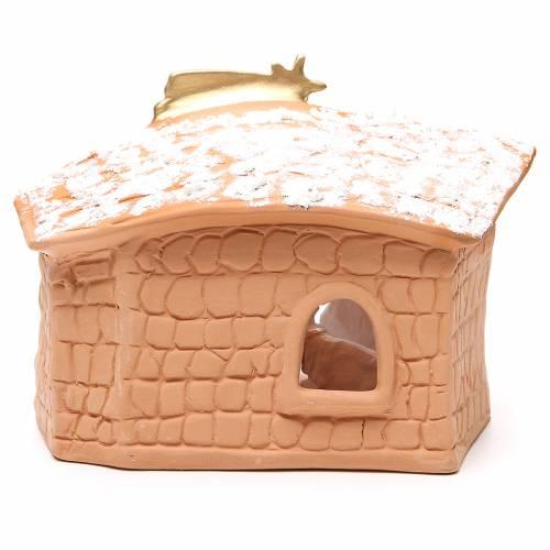 Nativité terre cuite décorée cabane et neige 20x10x16 cm s4
