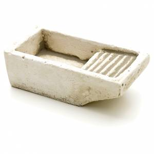 Home accessories miniatures: Nativity accessory, cloth wash tub in plaster