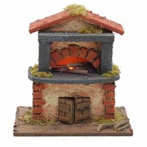 Nativity accessory, electric wood-fired oven with red roofing 14 s1