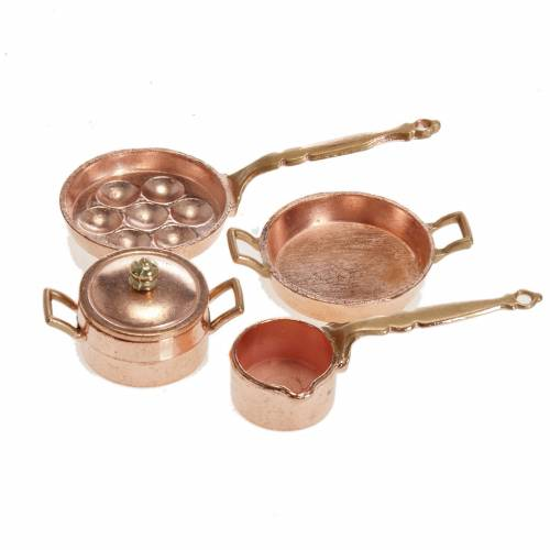 Nativity accessory, pans and pots in metal, set of 4 pieces s1