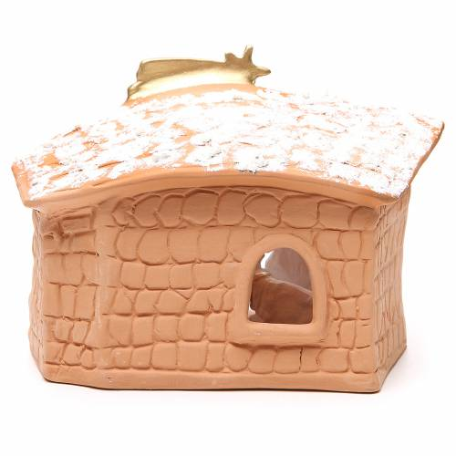 Nativity decorated terracotta with hut and snow h. 20x10x16cm 4