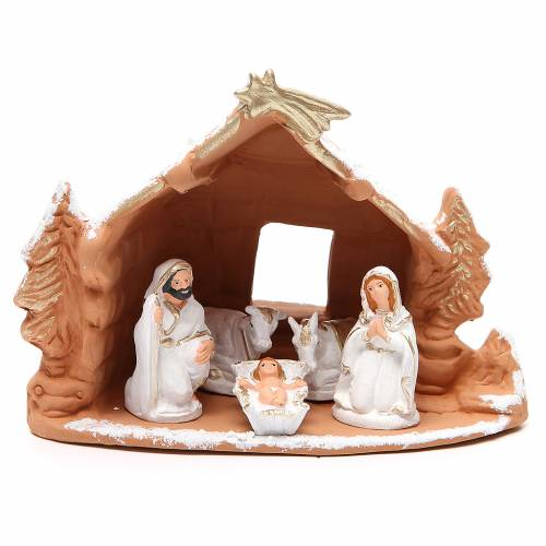 Nativity decorated terracotta with hut and snow h. 20x14x18cm s1