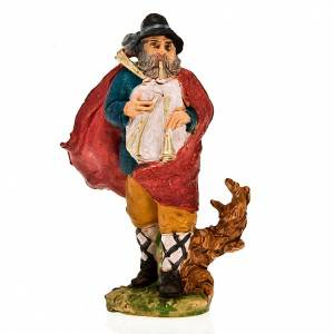 Nativity figurine 13cm, bagpiper player with red mantle s1
