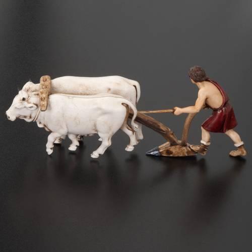 Nativity figurine, farmer plough and oxen 10cm, resin Moranduzzo s4