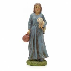 Nativity figurine, resin shepherdess with goat and amphora 20cm s1
