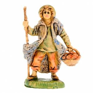 Nativity figurine, shepherd with fruit basket 8cm s1