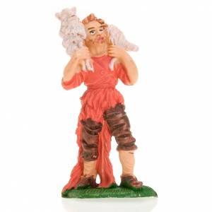 Nativity figurine, shepherd with sheep on shoulder 8cm s1