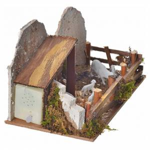 Nativity figurine, stable with sheep and sound s3
