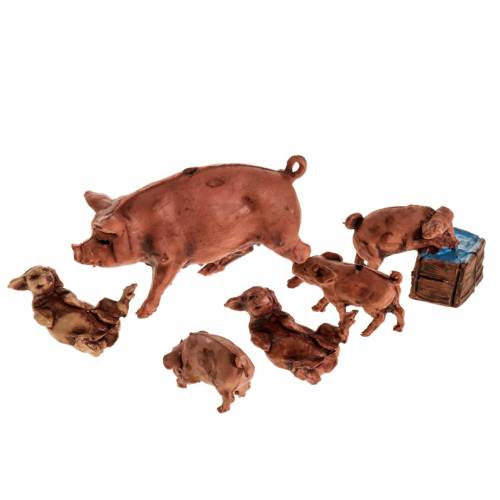 Nativity figurines, pig with 5 piglets in resin, 10cm s1