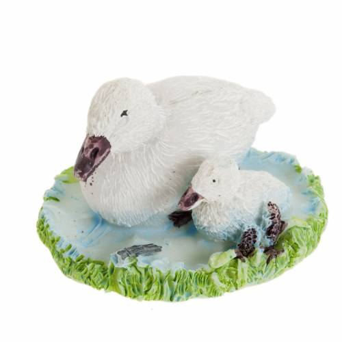 Nativity figurines, white ducks in resin, 14cm s1