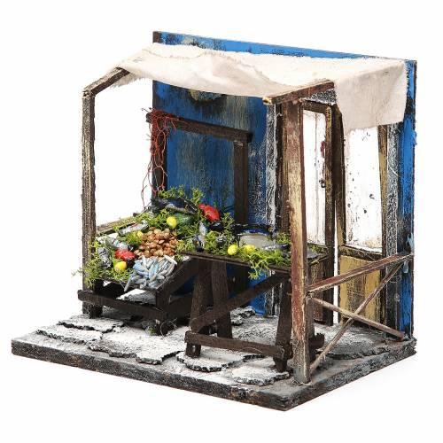 Nativity fishmonger stall in wax, 18x20x14cm s2