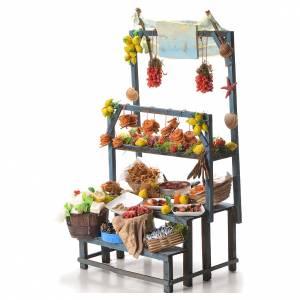 Nativity fishmonger stall in wax 48x26x24cm s2