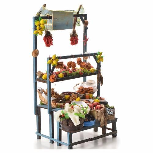 Nativity fishmonger stall in wax 48x26x24cm s4