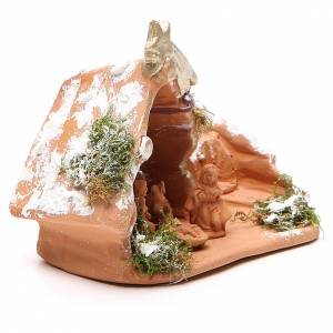 Nativity in Terracotta with Snow 10x12x7cm s3