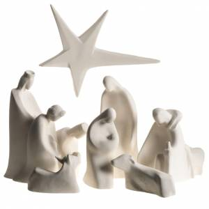 Stylized Nativity scene: Nativity scene, Adoration in fire clay, 32,5cm