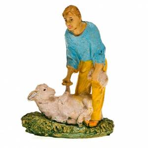 Nativity scene figurine, sheep shearer with sheep 10cm s3