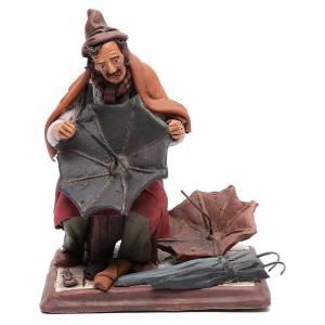 Terracotta Nativity Scene figurines from Deruta: Nativity Scene figurine, umbrella maker 30cm Deruta