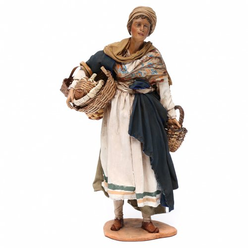 Nativity scene figurine, woman with baskets 30 cm, Angela Tripi s1