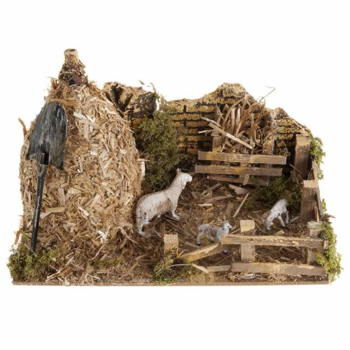 Nativity scene, sheepfold and sheaf of straw s1