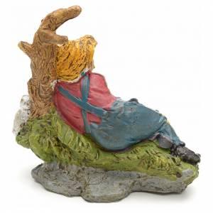 Nativity scene, sleeping shepherd figurine with dog 10cm s2