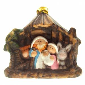 Nativity scene with stable and statues in ceramic, 11.5cm s1