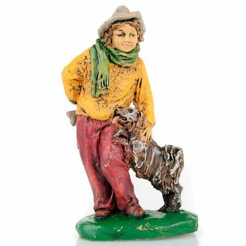 Nativity set accessory, Shepherd with dog figurine s1