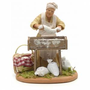 Nativity set accessory woman making bread 14 cm figurine s1