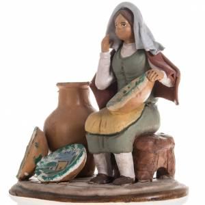 Nativity set accessory Woman selling jars clay figurine s2