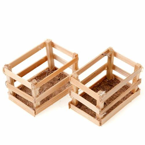 Nativity set accessory, wood boxes 1