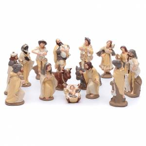 Terracotta Nativity Scene figurines from Deruta: Nativity set in painted clay 15 figurines 15cm, elegant style