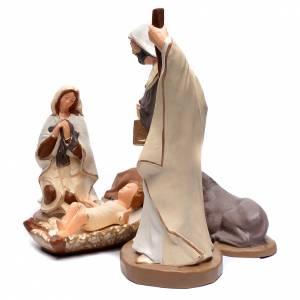 Terracotta Nativity Scene figurines from Deruta: Nativity set in painted clay 5 figurines 50cm, elegant style