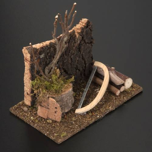 Nativity set setting, saw with logs s3