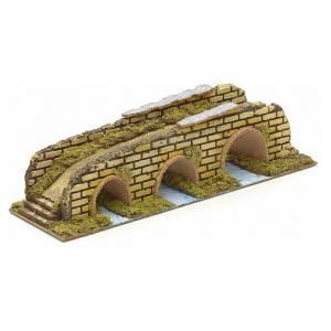 Bridges, streams and fences for Nativity scene: Nativity setting, bridge on river with 3 arches 35x10x8,5cm.