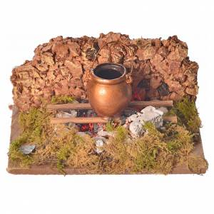 Nativity setting, fire with flickering LED and pot 10x6x5.5cm s4