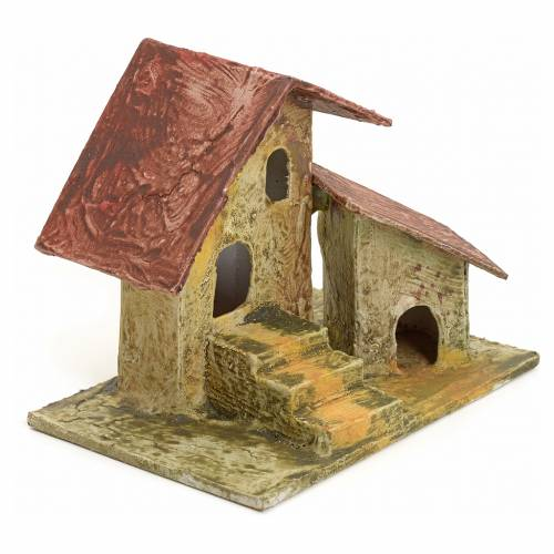 Nativity setting, house and ladder in stuccoed wood 11x10x7cm s2