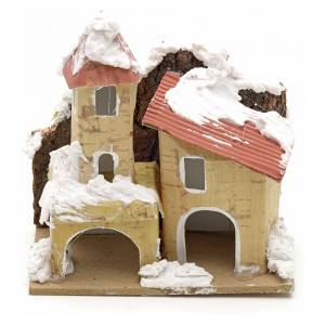 Nativity setting, houses covered with snow 10x6cm s1