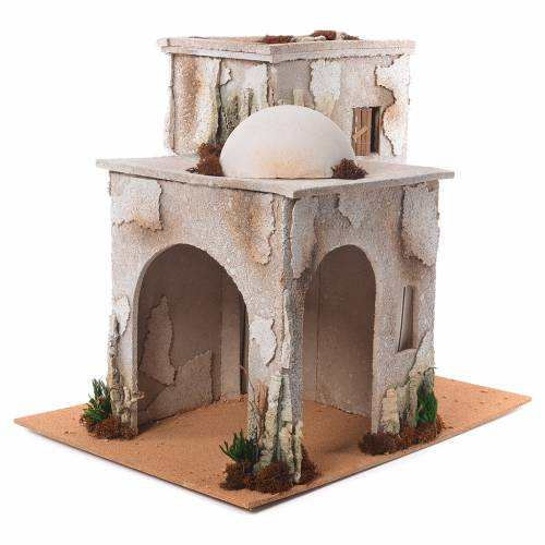Nativity setting, minaret with stable 50x45x60cm s2