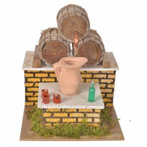 Settings, houses, workshops, wells: Nativity setting, moving tavern with casks 20x14x17cm