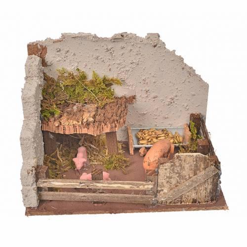 Nativity setting, pig corral 11x15x10cm s1
